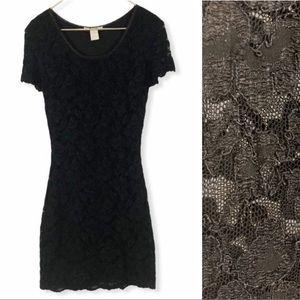 VINTAGE 90s Black Stretch Lace Mini Wiggle Dress
